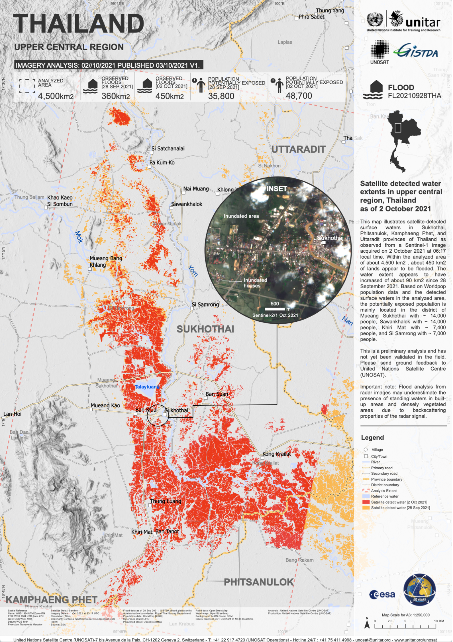 Satellite detected water extents in upper central region, Thailand (Published 4 Oct 2021)