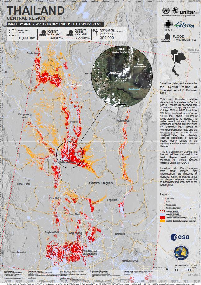 Satellite detected waters in the Central region of Thailand (Published 5 Oct 2021)