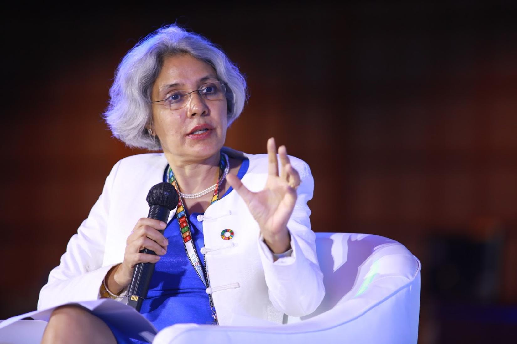 Gita Sabharwal, UN Resident Coordinator in Thailand, addresses a meeting of the Global Compact Network Thailand in August 2020
